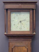 CIRCA 1840 30 HOUR INLAID OAK LONGCASE CLOCK BY J Hanbury, West Haddon, the square hood with
