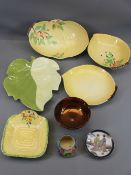 CARLTONWARE - four pieces, yellow ground leaf dishes, a small Crown Devon yellow ground floral