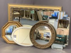 VINTAGE & LATER WALL MIRRORS (5) to include a circular Georgian style bobble mirror with convex