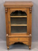 CIRCA 1900 MUSIC SHEET CABINET, single glazed front door with interior shelving and single lower
