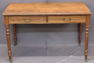 GILLOWS & COMPANY TWO DRAWER MAHOGANY LIBRARY TABLE - on turned supports with brass drop handles and