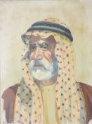 A CHITSAZ oil on canvas - portrait of an Arab gentleman, indistinctly signed, 44 x 34cms