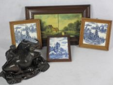 DUTCH PAINTED & OTHER FRAMED TILES along with an Eastern carved water buffalo and boy on a carved