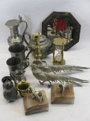 ANTIQUE & LATER PEWTER & BRASSWARE, a pair of EP pheasant table ornaments, painted cast and marble