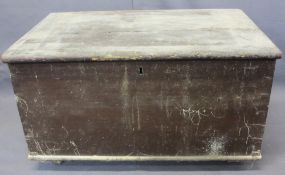 SMALL VINTAGE PINE LIDDED CHEST - with iron carry handles on metal castors, 38cms H, 67.5cms W,