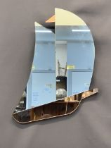 ART DECO YACHT SHAPED WALL MIRROR - the hull and flag in pink tinted glass, 51 x 39cms