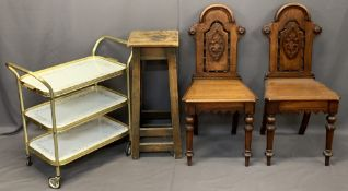 VICTORIAN MAHOGANY HALL CHAIRS, A PAIR, vintage high stool and a modern gilt metal three tier tea