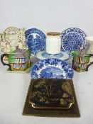 WILLOW PATTERN CAKESTAND, G Rushbrook ham stand, Staffordshire spillholder and other items of