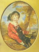 MRS LAMBERT watercolour, oval format - the copy executed in 1937/38 - little red suited boy seated