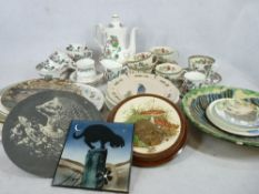 COALPORT & OTHER INDIAN TREE TEA & COFFEE WARE with a quantity of decorative wall plates, ETC (2