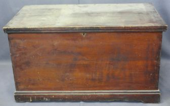 VICTORIAN PINE LIDDED CAPTAIN'S STYLE CHEST - with iron carry handles and strap hinges, interior