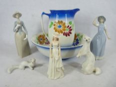 USSR PORCELAIN FERRETS and other figurines and a pottery wash jug and bowl