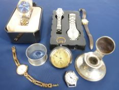 LADY'S & GENT'S WRISTWATCHES, reproduction pocket watch marked 'The Royal Mail Steam Packet' and two