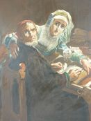 LARGE OIL ON CANVAS - a medieval couple, unsigned and unframed, 76.5 x 61cms