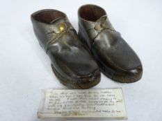 VICTORIAN CHILD'S CLOGS, a pair, note to the interior reads 'These clogs were made for my mother