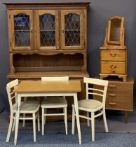 VINTAGE & LATER HOUSEHOLD FURNITURE, a quantity to include a reproduction glass topped dresser