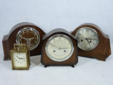 CLOCKS - Bentima 8 day polished mantel clock, an Enfield, 20 x 31cms L and another. Also, Smiths 8