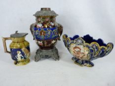 MAJOLICA POTTERY & CAST METALWARE OIL LAMP BASE, Continental Majolica style planter and a metal