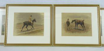 H BIRD & JOHN STURGESS framed equine prints (4) - the two Bird titled 'A wet ride home', 22 x 28.