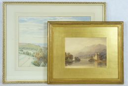 ANDREW DONALDSON watercolour - mountainscape with ruin alongside a lake to the foreground, early