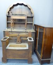 VINTAGE & LATER FURNITURE PARCEL, 4 ITEMS - an oak box seat hall bench/stick stand, 89cms H, 85cms