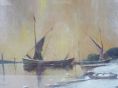 W AYRE oil believed on canvas on board - river scene with beached boats etc, signed, 37 x 54cms