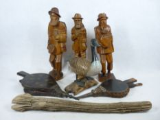 TREEN - Continental carved figures (3), 43cms tall, driftwood, Bellows and a decoy type duck