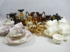 VICTORIAN COPPER LUSTRE, puce decorated teaware, gilt coffee set, Royal Albert 'Val D'or' ETC (in