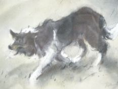WILLIAM SELWYN coloured limited edition print (41/150) - a stalking sheep dog, signed in full, 14