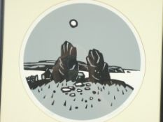 SIR KYFFIN WILLIAMS RA coloured limited edition print (1/500) circular format - 'The two standing