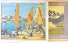 COLIN GREGORY mixed media on board - continental quayside scene with boats and figure, signed and
