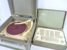 COLLARO 1950s/60s boxed record player and a boxed Vidor attache case value radio