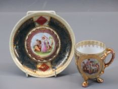 VIENNA CUP & SAUCER - the cup with twin split serpent handles on three pad supports and with a panel