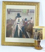 CURNOW VOSPER gilt framed print - 'Salem', 52.5 x 50.5cms along with a vintage table lamp, the shade