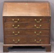 GEORGIAN MAHOGANY FALL FRONT BUREAU - having an interior arrangement of pigeonholes and drawers over