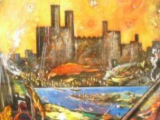 DAVID WILDE acrylic entitled - 'Siege of Caernarfon Castle by The Welsh' circa 1404, signed, 44 x