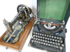 IMPERIAL TYPEWRITER - good Companion, Early 20th Century with a Singer sewing machine