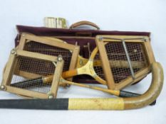 1950s TENNIS RACQUET - Slazenger Perry and Maskell PM, a Jaques Eclipse badminton racquet, Slazenger