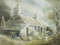 KEITH ANDREW watercolour - cottage with farmer feeding poultry, signed and dated 1984, 26 x 34cms