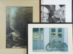 PRINTS (2) - a riverscape and bicycle outside a shop and a framed photograph - a soldier and