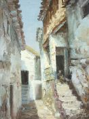 ?? CUPEROS, SPANISH SCHOOL oil on canvas - continental narrow street scene with lady figure seated