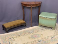 VINTAGE & LATER FURNITURE PARCEL, 4 ITEMS - a reproduction mahogany half-moon hall table, 70cms H,