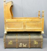 ANTIQUE PINE BABY'S CRADLE, 78cms H, 54cms max W, 90cms L and a vintage wooden banded travel