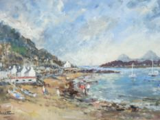 DORIS E CRIGHTON acrylic - Porthdinllaen with figures on the shore and anchored boats, signed in