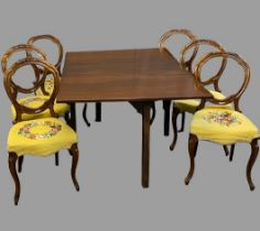 DINING TABLE & 6 CHAIRS - antique mahogany gateleg, 72cms H, 142cms W, 102cms D (open) and six