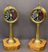 VINTAGE BRASS ENGINE ROOM TELEGRAPH LAMPS on wooden block bases, 55cms H, 18cms drum diameters