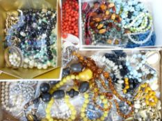 VINTAGE & LATER COSTUME JEWELLERY - necklaces, Ingersoll and other watches, ETC, including Amber and