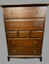 STAG MINSTREL MULTI-DRAWER BEDROOM CHEST - having two long over three short over two long drawers,