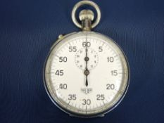 HEUER VINTAGE STOPWATCH - manual wind in chrome plated case, the back stamped 'M R V 5027', Arabic