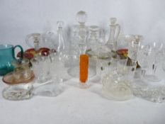 ANTIQUE & LATER GLASSWARE - a good selection in two boxes to include a White Friars type bark